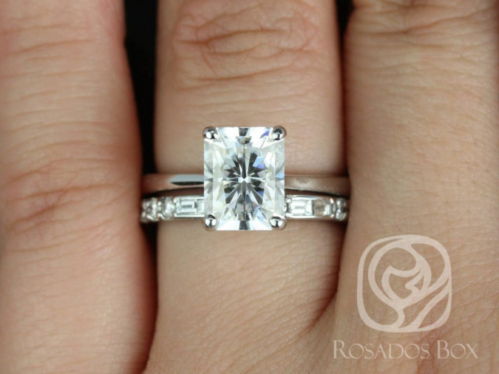 Rosados Box Skinny Nancy 9x7mm & Gabriella 14kt White Gold Radiant F1- Moissanite and Diamonds Wedding Set