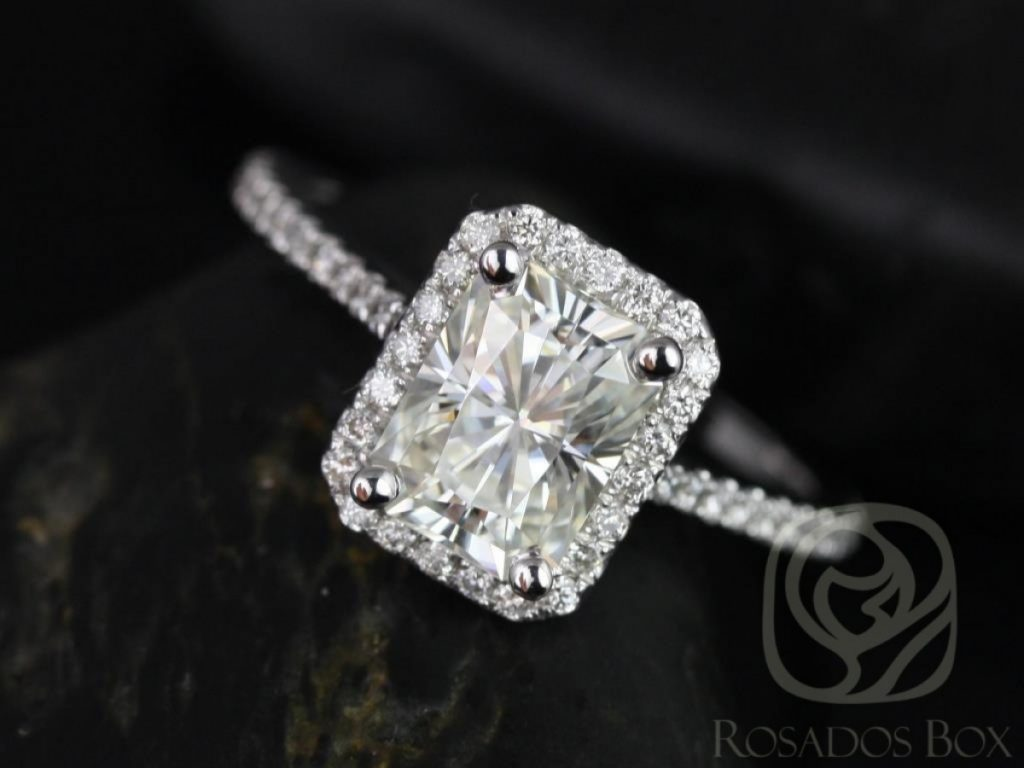 Rosados Box Brianna 8x6mm 14kt White Gold Radiant F1- Moissanite and Diamonds Halo Engagement Ring
