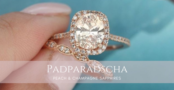 Padparadscha Sapphire Rose Gold Rings by Love & Promise Jewelers