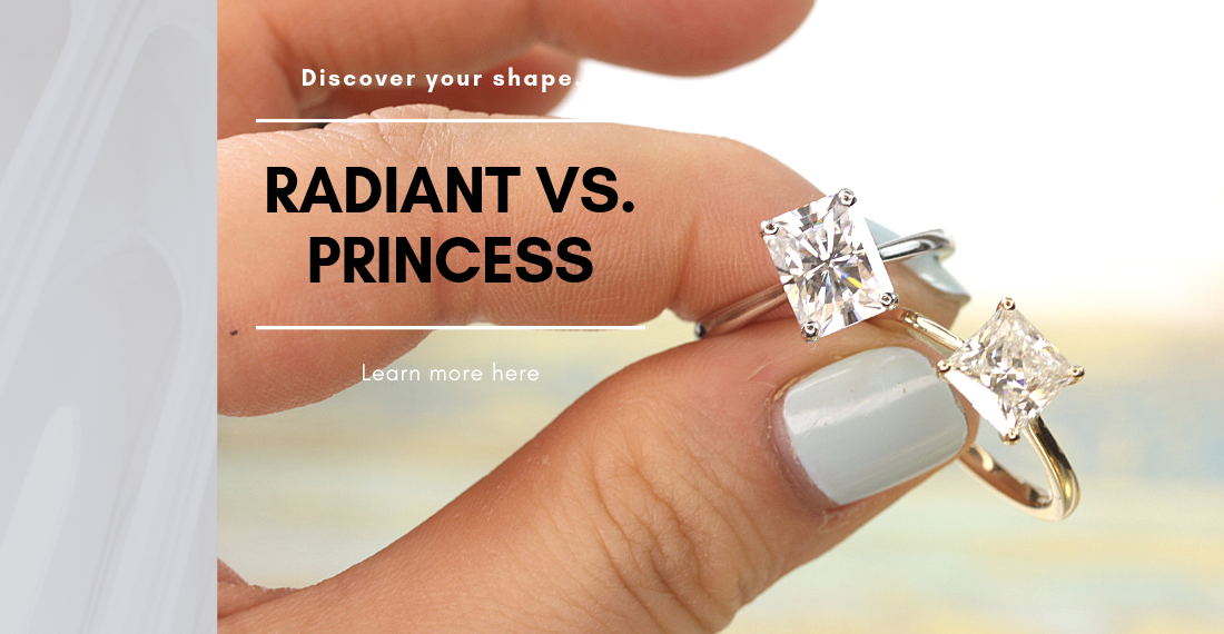 Radiant Cut and Princess Cut engagement rings by Love & Promise Jewelers