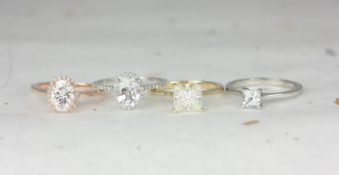 Engagement rings with different hardware metals