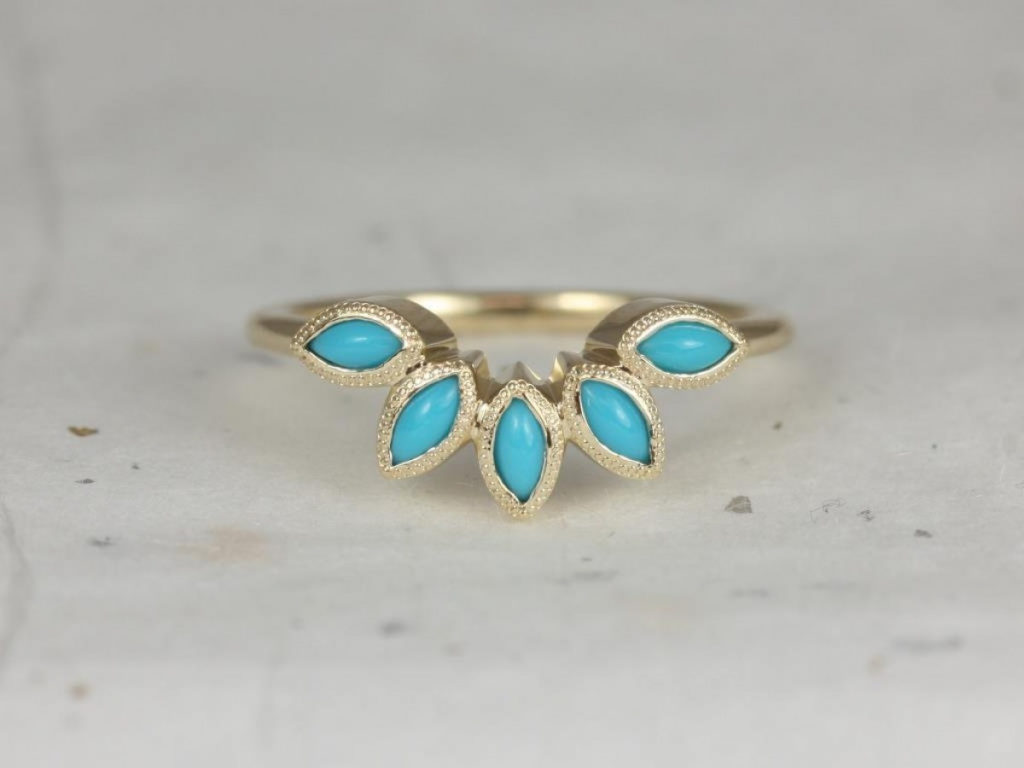 Rosados Box Petunia 14kt Yellow Gold Marquise Turquoise Leaves