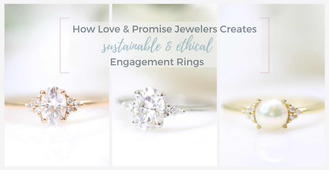Ethical three stone cluster style engagement rings by Love & Promise Jewelers.