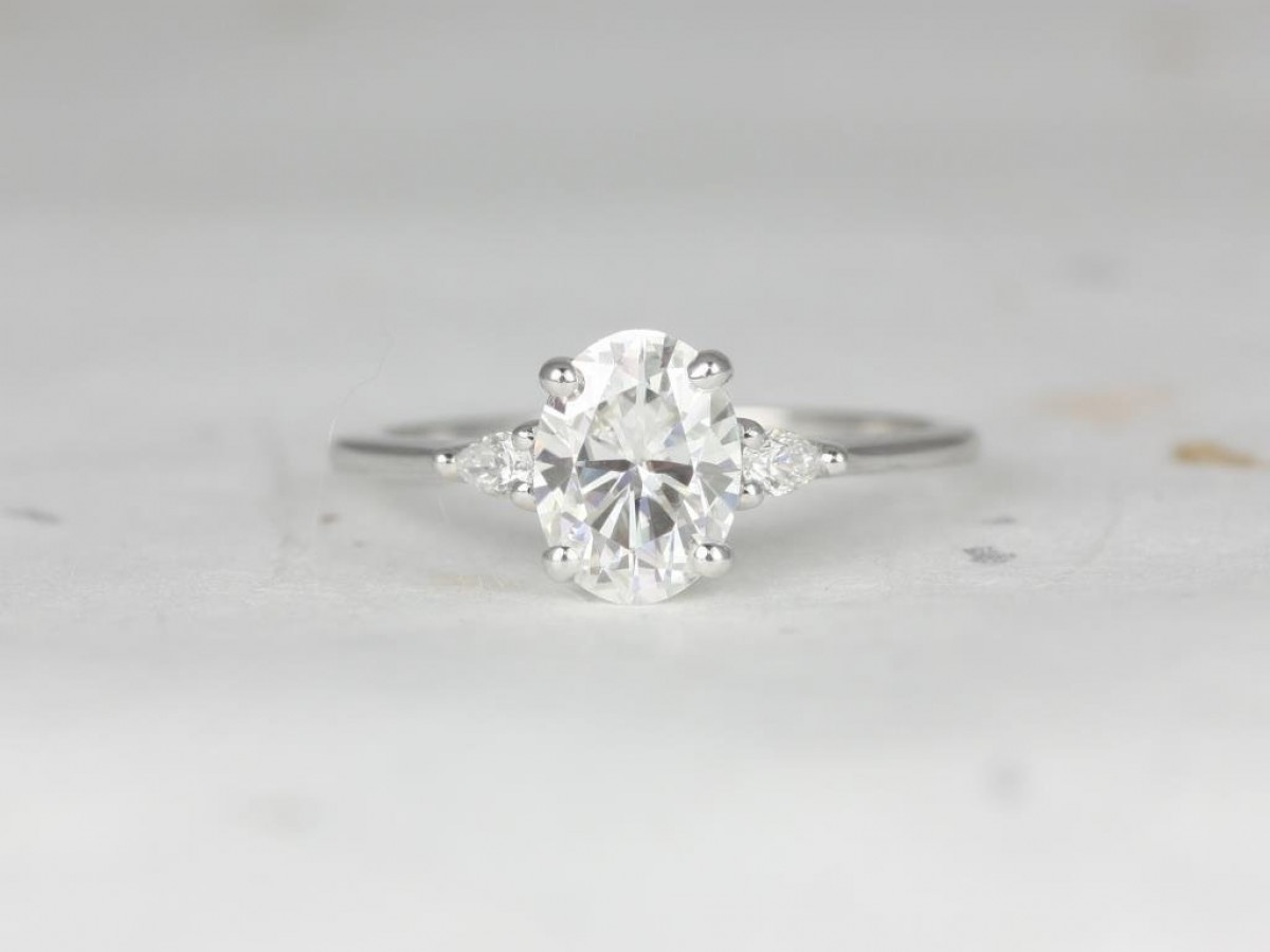 Engagement ring made with 14kt white gold, moissanite and conflict-free diamonds.