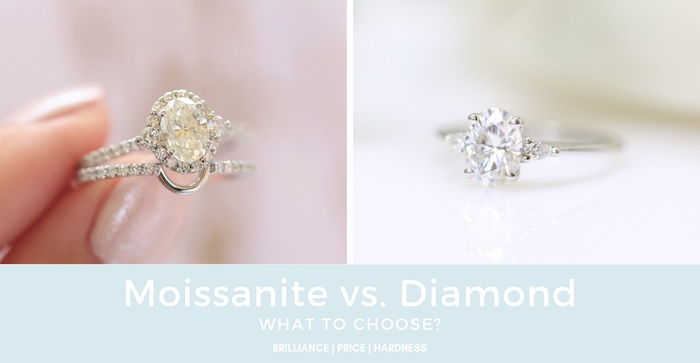 Halo moissanite wedding set and diamond engagement ring by Love & Promise Jewelers.