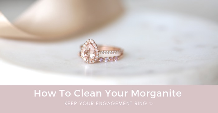 Rose Gold Pear Morganite and Diamonds Halo Engagement Ring by Love & Promise Jewelers.