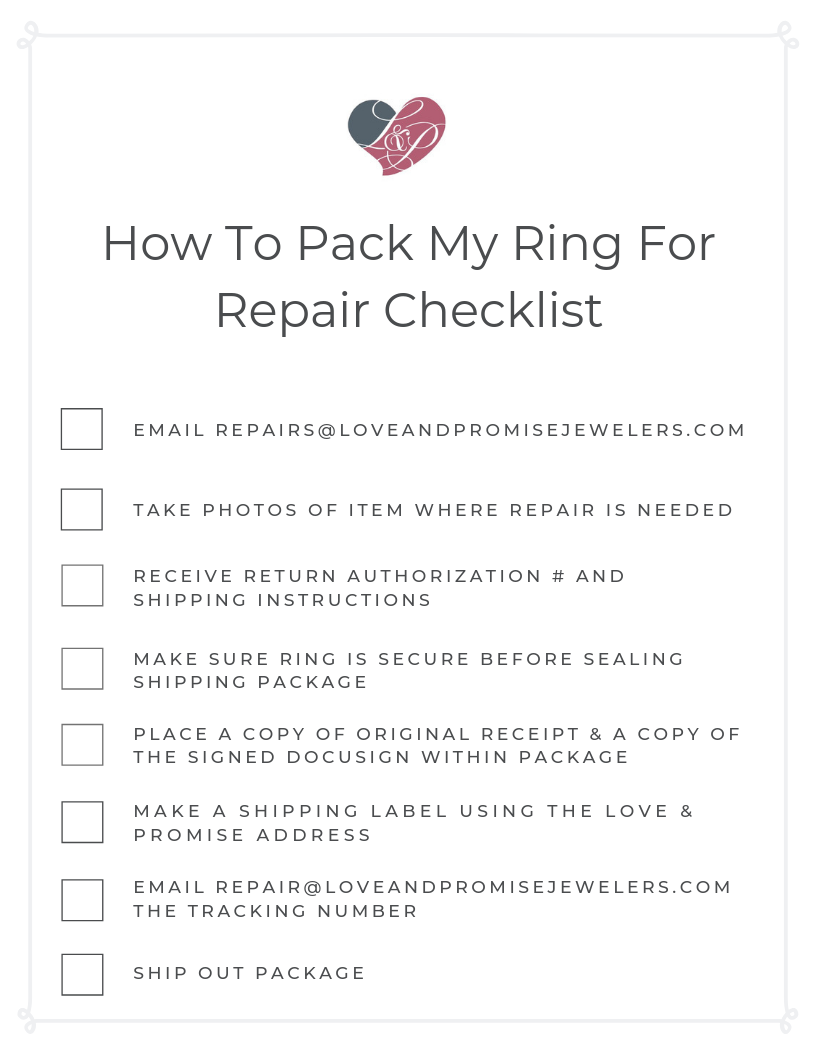 Checklist for how to pack your ring for repair
