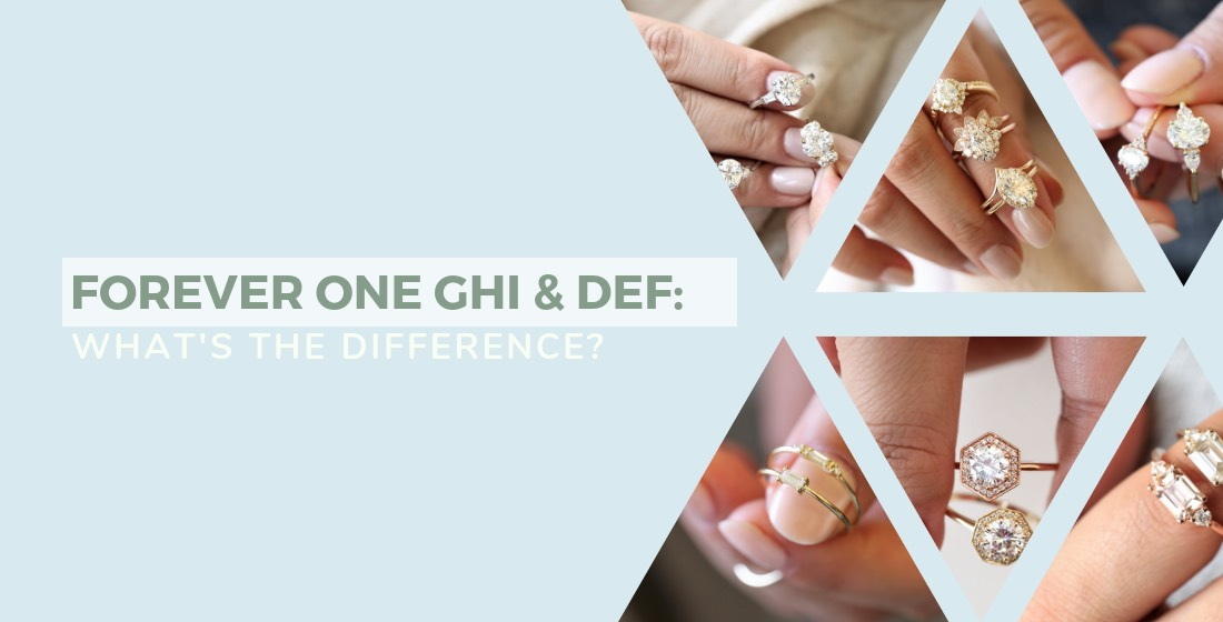 Forever One GHI and DEF moissanite rings