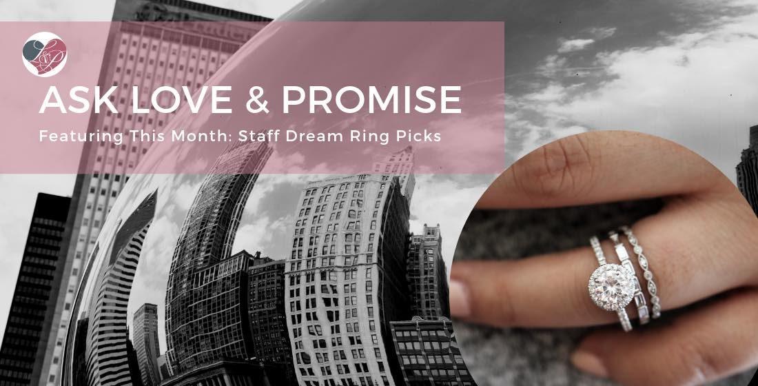 engagement ring against chicago skyline