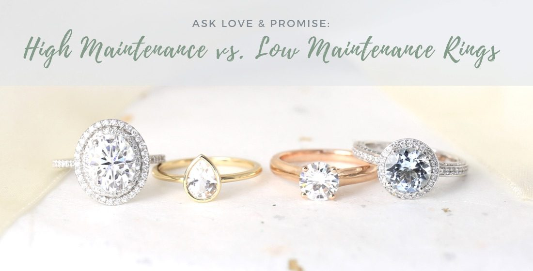 4 gemstone engagement rings different metal bands