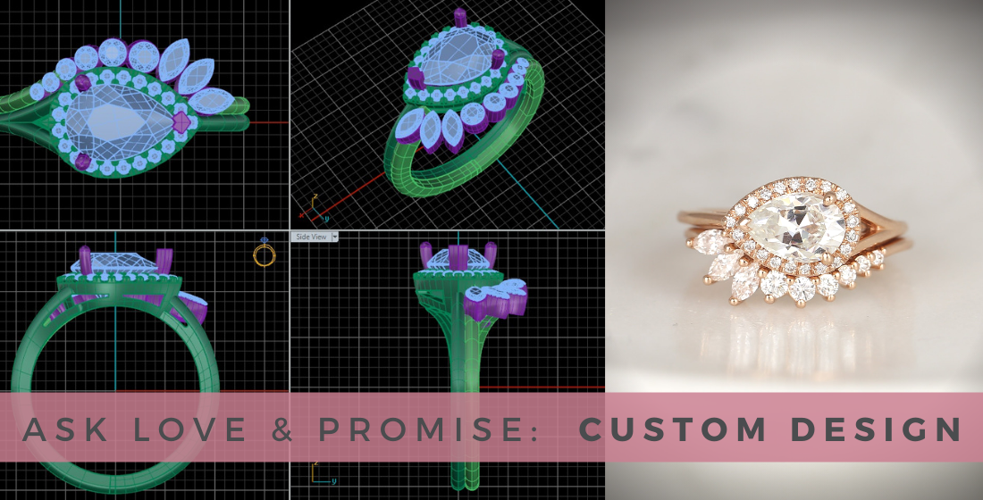 Custom Design diamond ring next to autoCAD drawing of ring from various angles