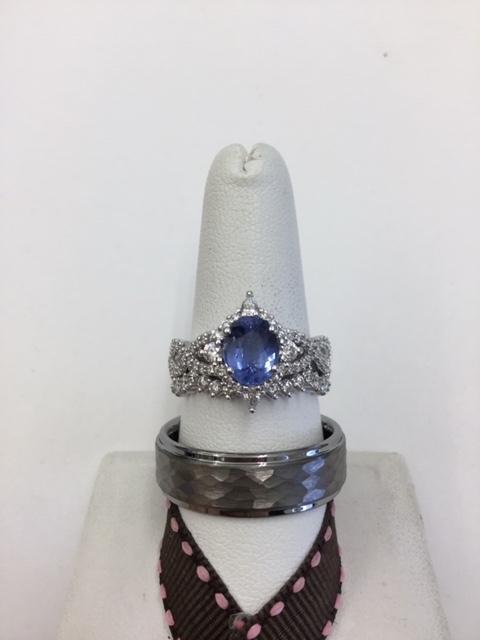 custom-designed engagement ring set on display