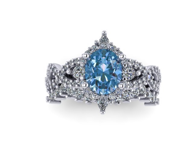 front view of blue gemstone ring with diamonds
