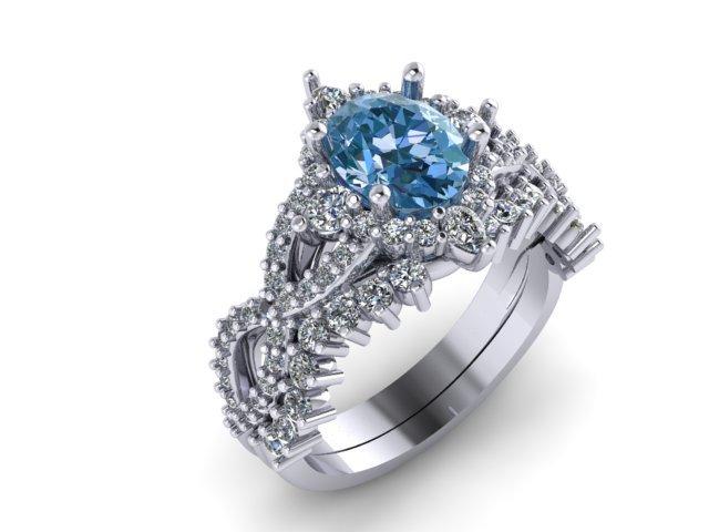 side view of custom blue gemstone ring