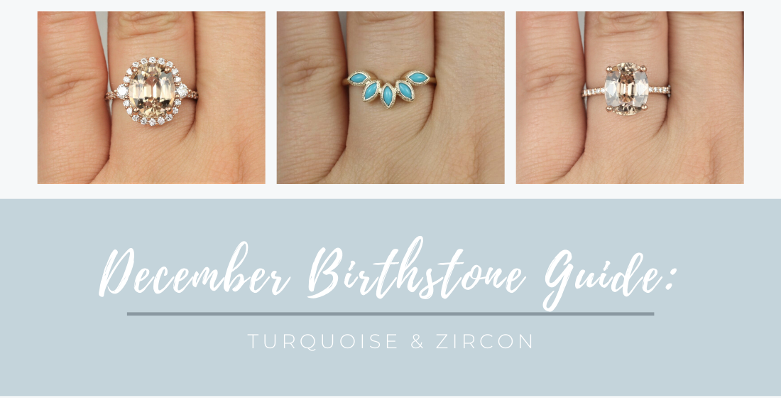 December Birthstone Turquoise and Zircon Rings