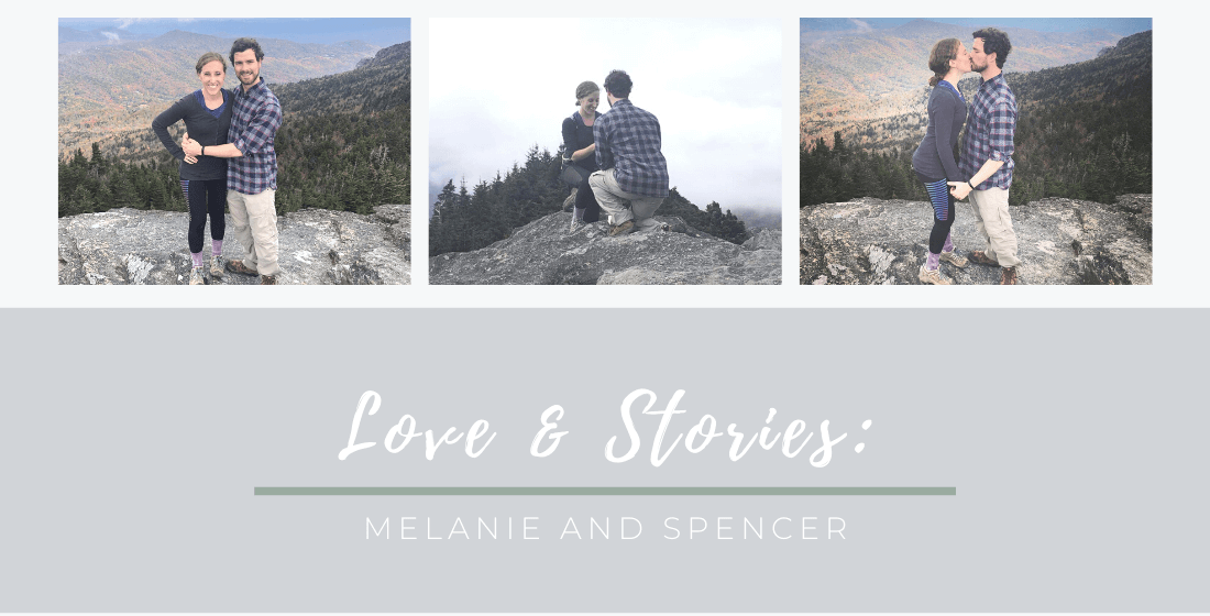 Engagement photos of Melanie and Spencer in a mountain setting
