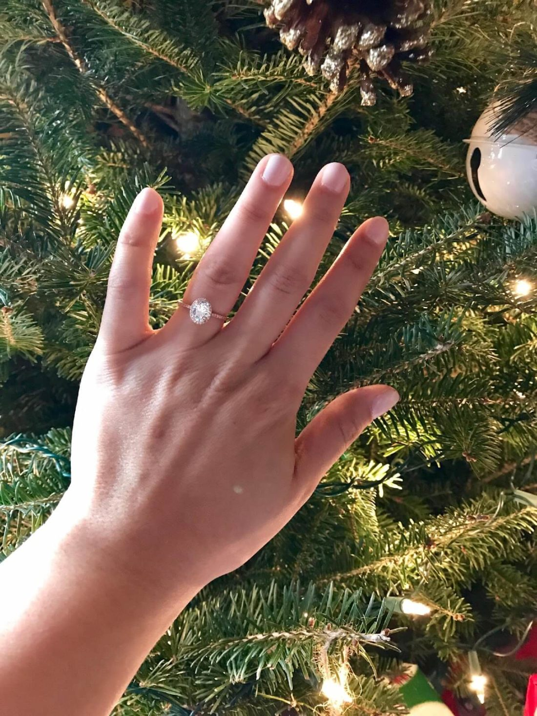 Rose Gold Engagement Ring on Saige's Hand