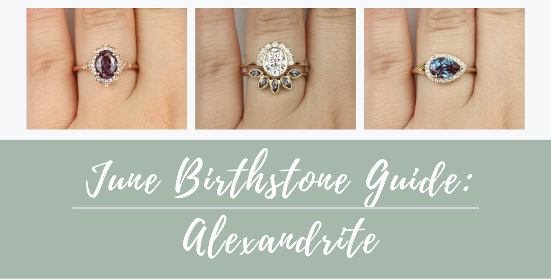June birthstone guide with three featured rings.