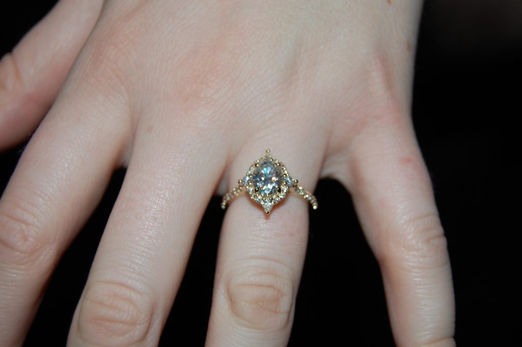 Custom made Jadis ring on ring finger.
