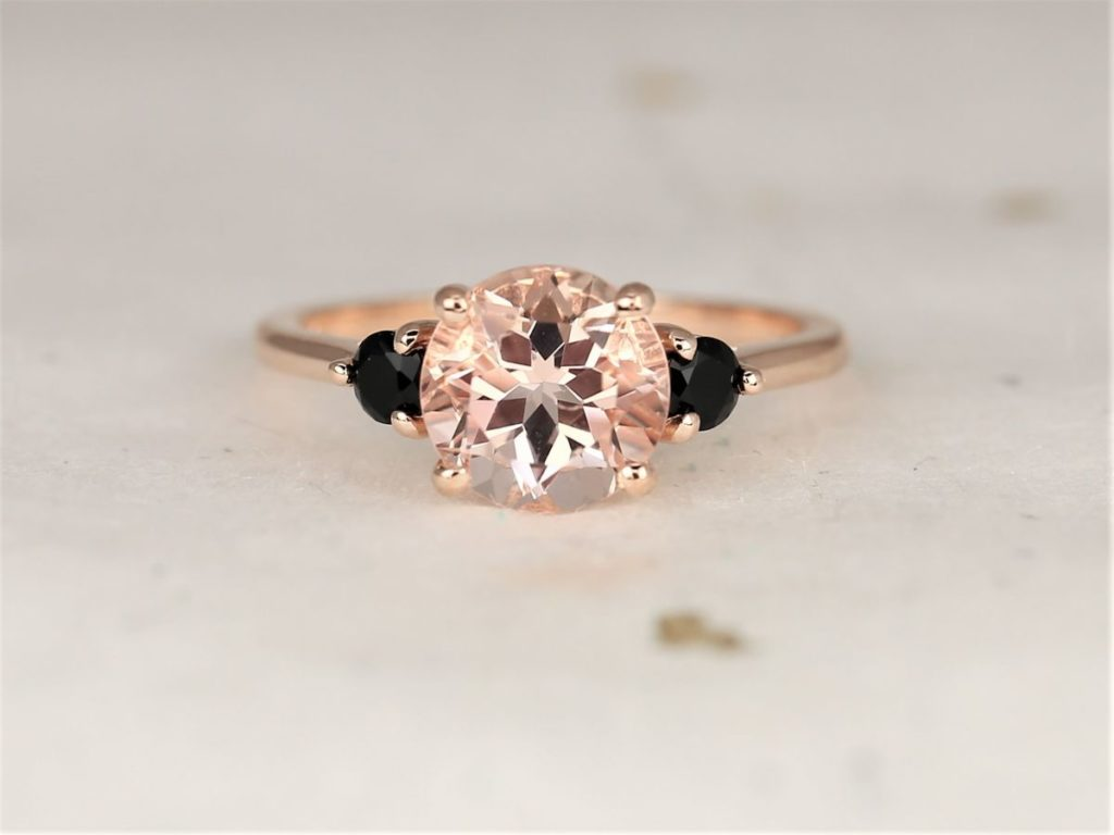 Box Colette 8mm 14kt Rose Gold Morganite Onyx Dainty Minimalist 3 Stone Engagement Ring