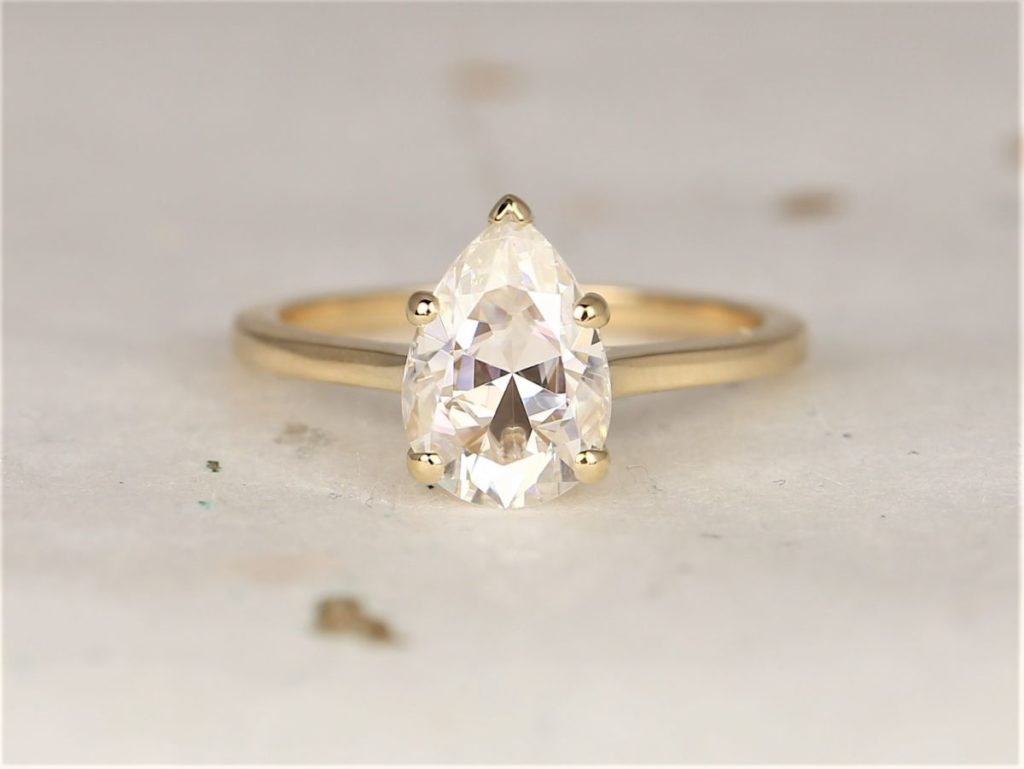 Solid Gold Forever One Moissanite Minimalist Dainty Pear Solitaire Engagement Ring