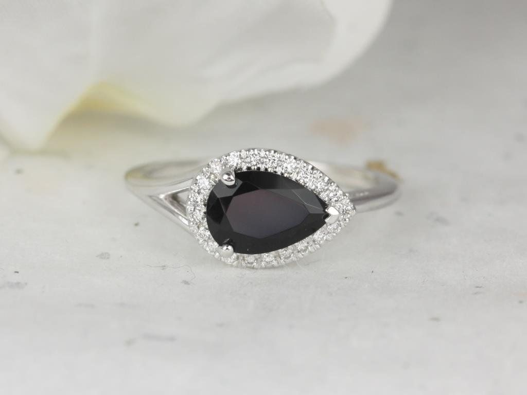 White Gold Pear Black Onyx Diamonds Split Shank Dainty Halo Engagement Ring