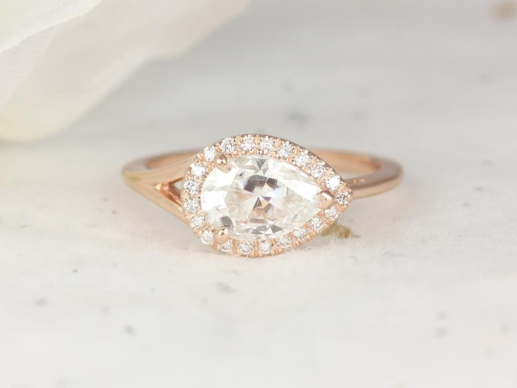 Rose Gold 1.50ct Pear Forever One Moissanite Diamond Split Shank East West Pave Halo Engagement Ring