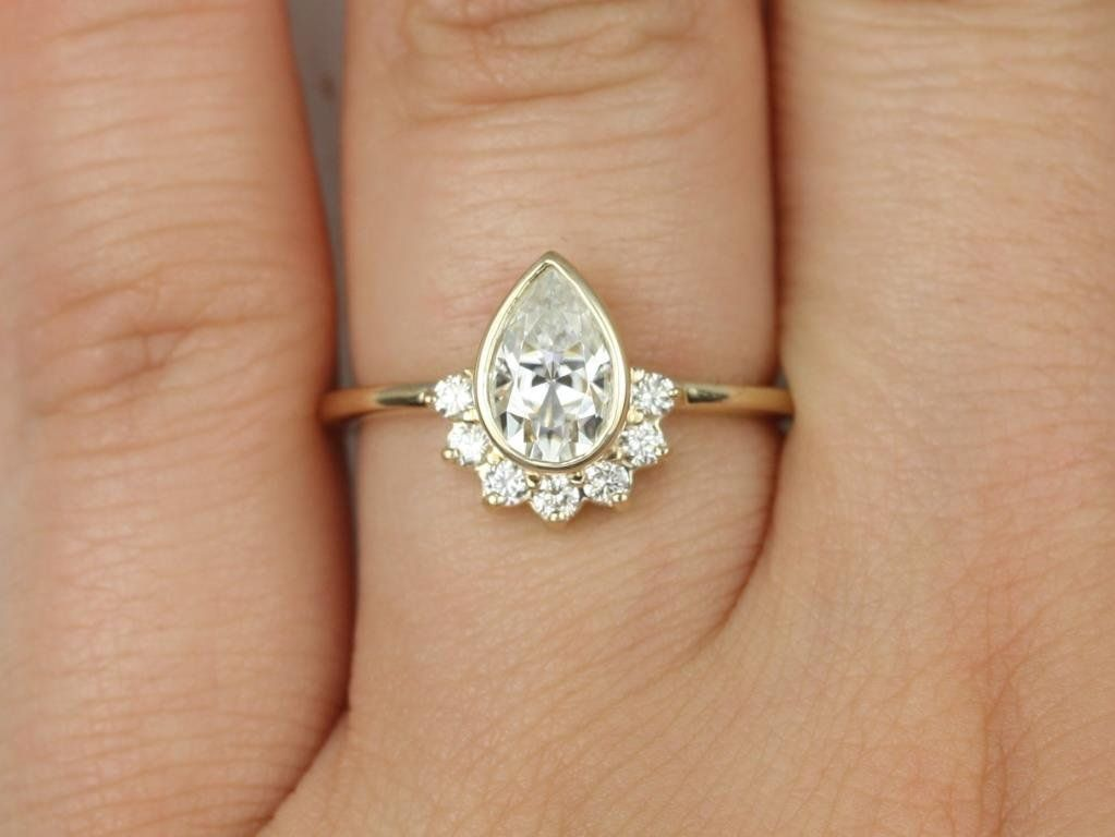 Yellow Gold Pear F1- Moissanite and Diamonds Bezel Crescent Sunrays Engagement Ring