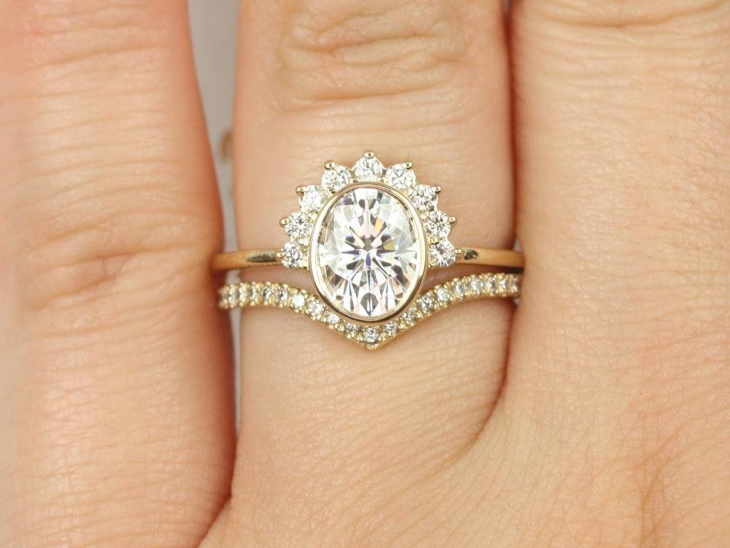 Yellow Gold Oval F1- Moissanite and Diamonds Bezel Crescent Sunrays Chevron Wedding Set