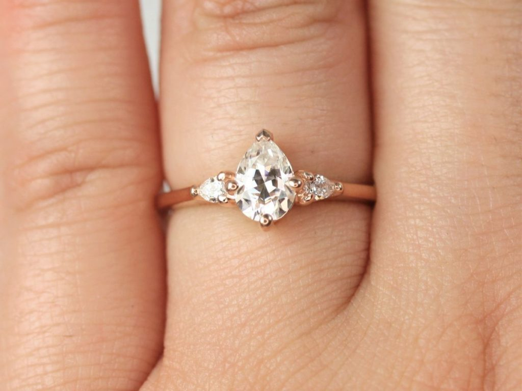 Gold Forever One Moissanite Diamond Pear 3 Stone Dainty Engagement Ring