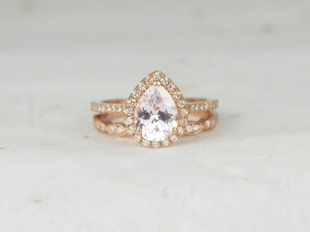 Rose Gold Pear Blush Peach Champagne Sapphire and Diamonds Halo Wedding Set