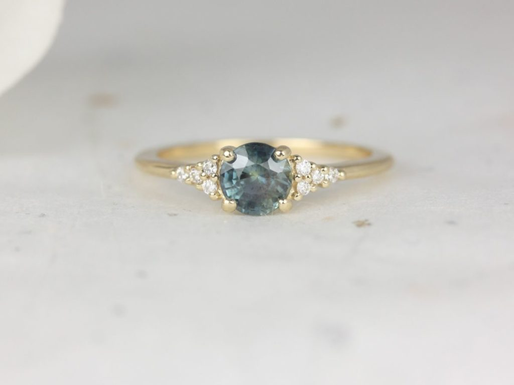 Gold Ocean Teal Sapphire Diamonds Dainty Round 3 Stone Cluster Ring