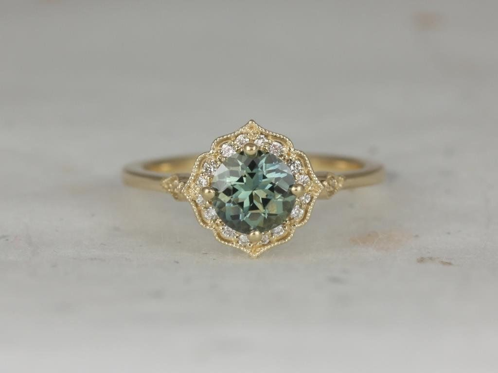 14kt Yellow Gold Jungle Teal Sapphire Diamond Kite Halo WITH Milgrain Engagement Ring