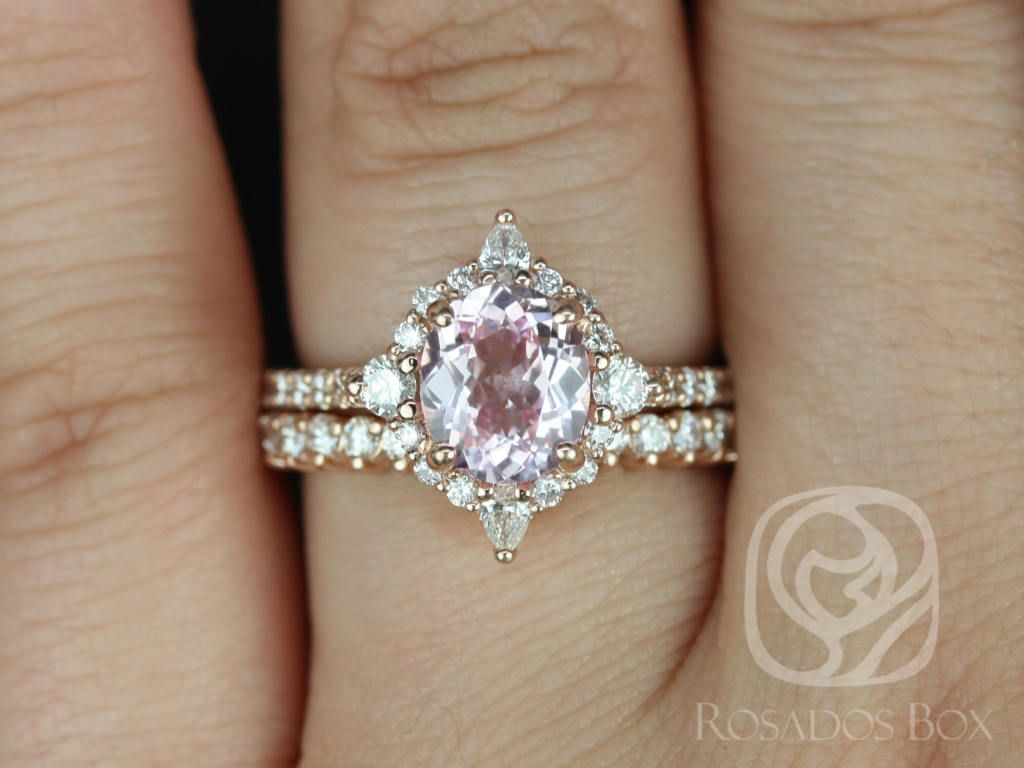 Rose Gold Oval Blush Champagne Spinel and Diamonds Star Halo Wedding Set