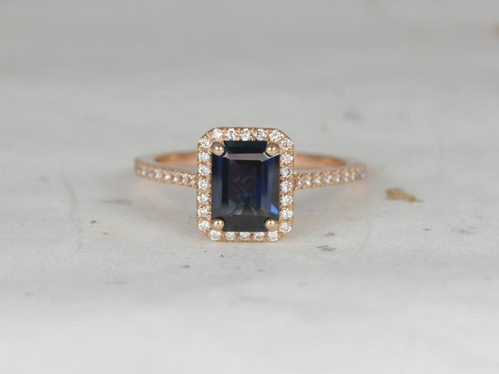 14kt Rose Gold Teal Blue Sapphire and Diamonds Emerald Halo Engagement Ring