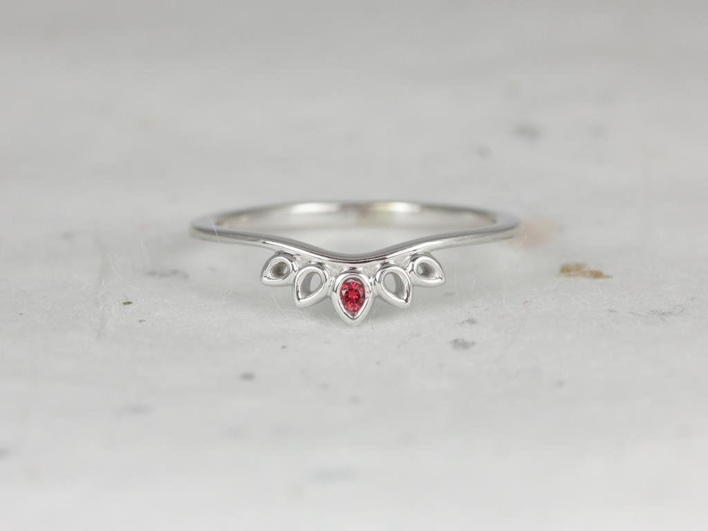 White Gold Drop Leaf Tiara Curved Ring