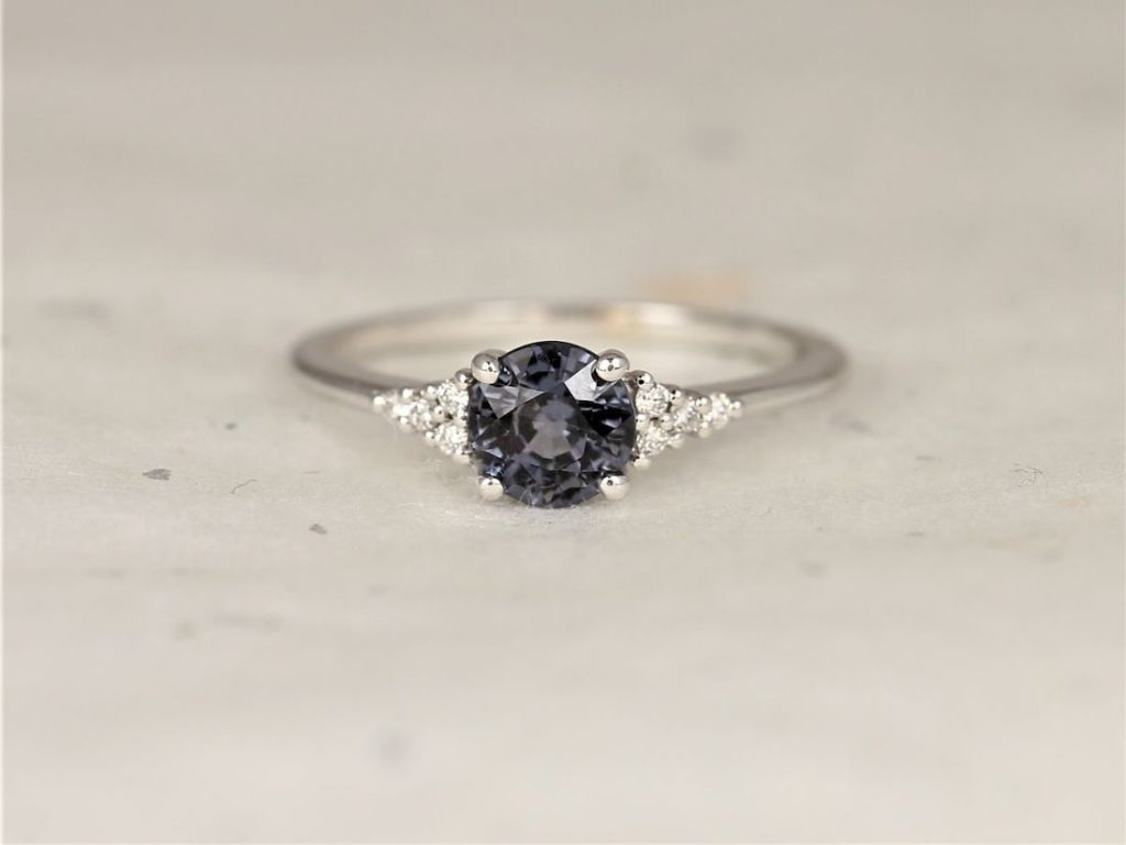 White Gold Grunge Grey Purple Spinel Diamonds Dainty Round 3 Stone Cluster Ring