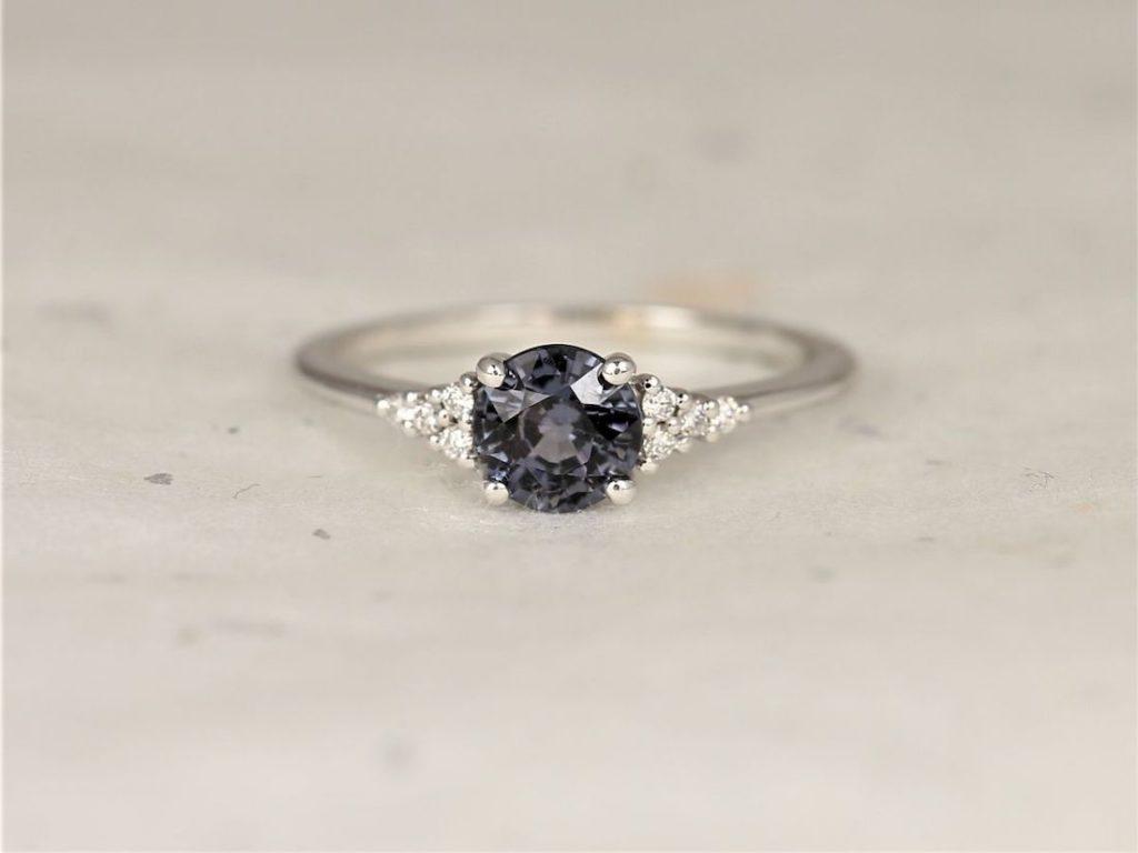 White Gold Grunge Grey Purple Spinel Diamonds Dainty Round 3 Stone Cluster Ring