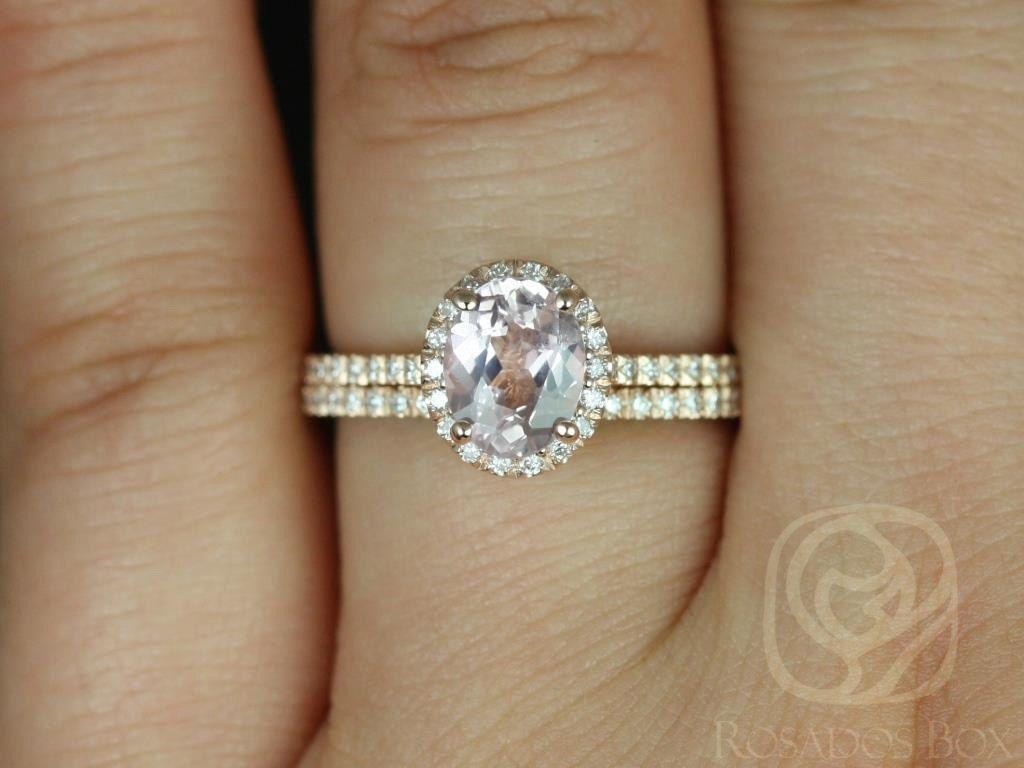 14kt Rose Gold Peach Blush Champagne Sapphire and Diamonds Oval Halo Wedding Set