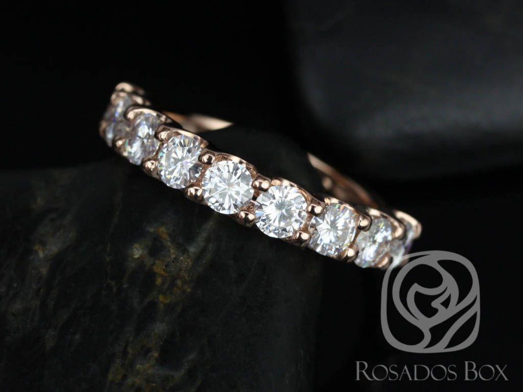 14kt Rose Gold Round F1 Moissanite Halfway Eternity Band