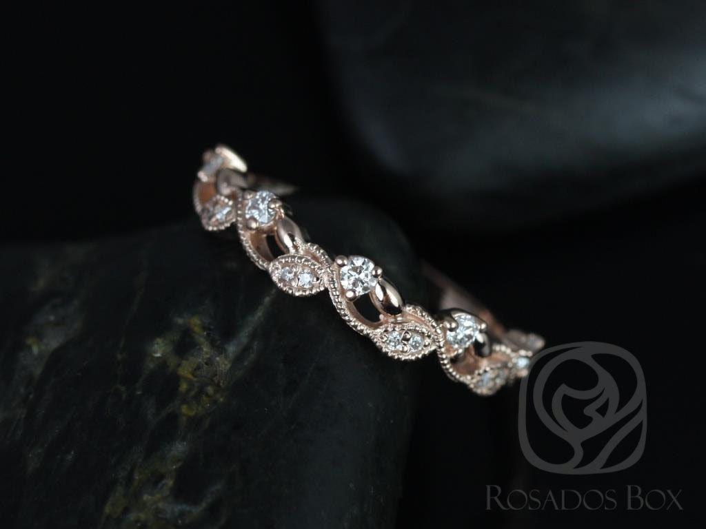 14kt Rose Gold Thin Weaving Leaves Diamonds Berries Halfway Eternity Band