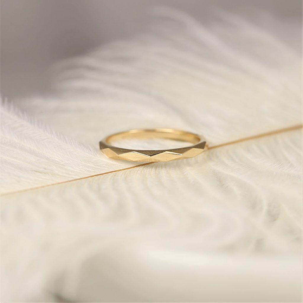 14kt Solid Checker Board Diamond Cut Dainty Wedding Ring