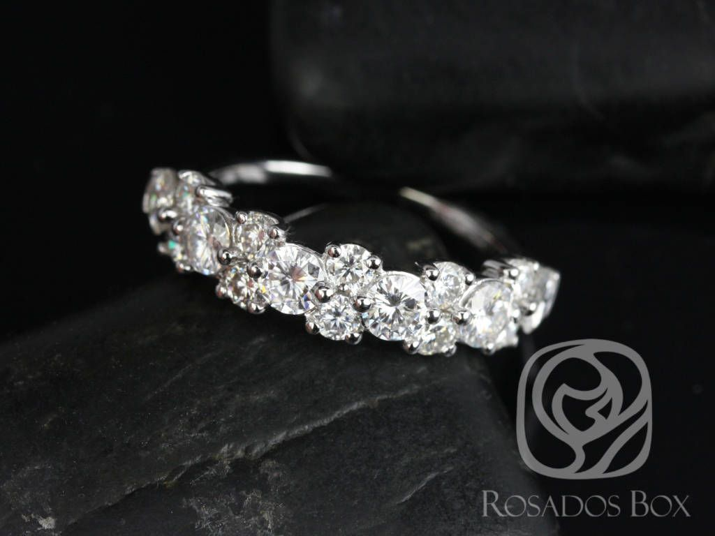 14kt White Gold F1 Moissanite Floral Crown Halfway Eternity Band