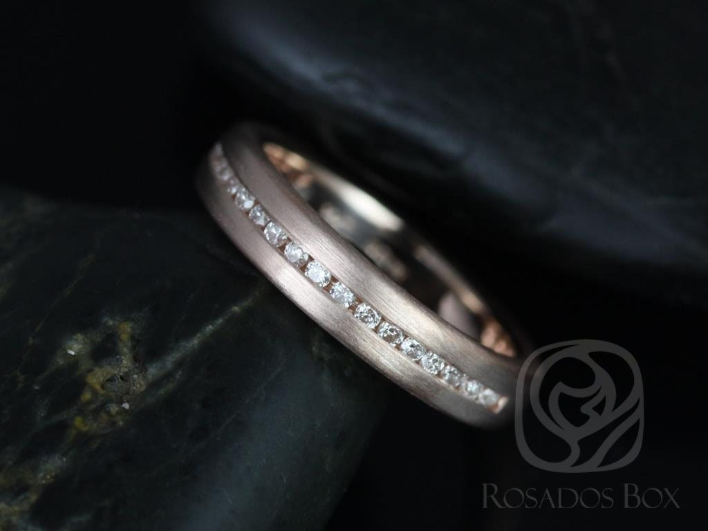 14kt Rose Gold Satin Finished Puffy Channel Set Diamond Halfway Eternity Band