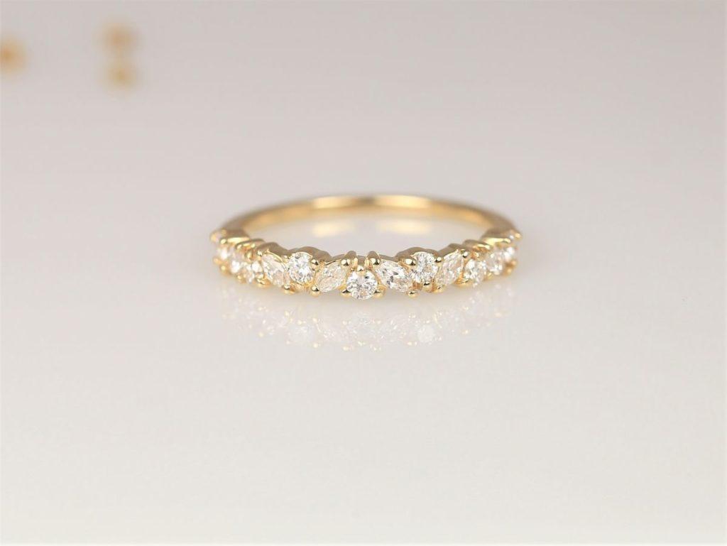 14kt Gold Diamond Dainty Cluster Halfway Eternity Ring