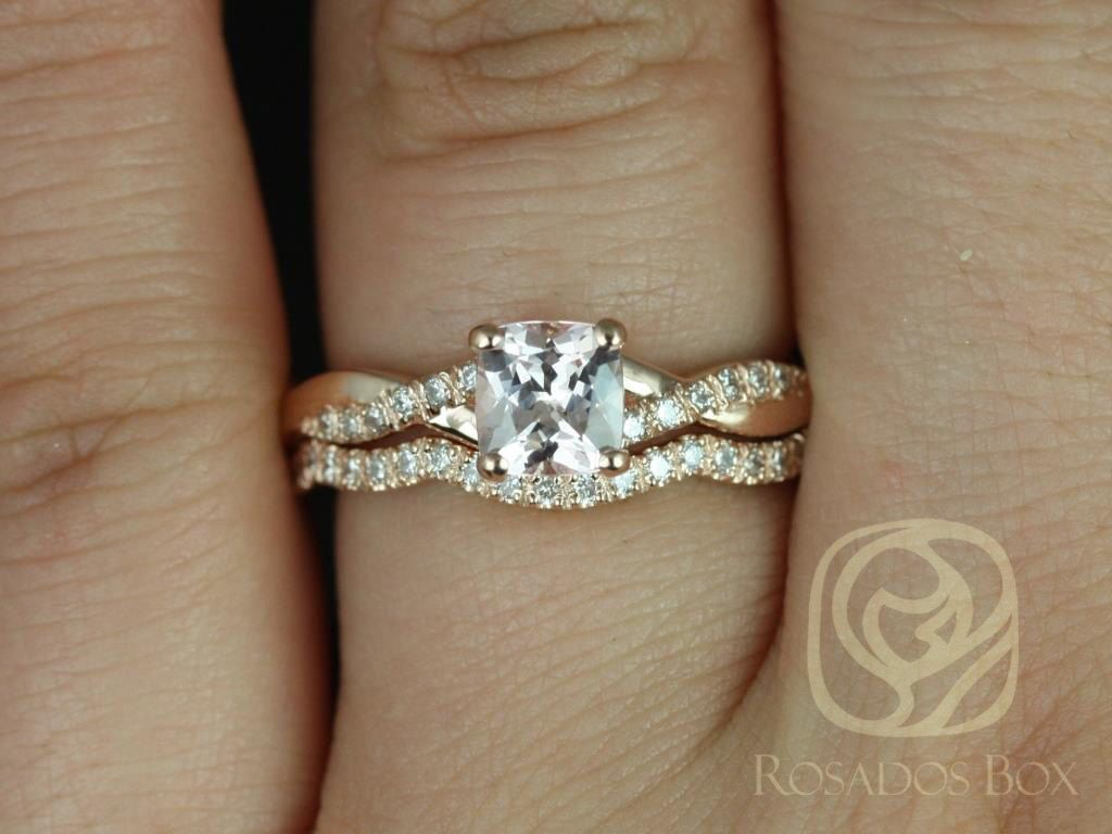 14kt Rose Gold Cushion Peach Champagne Sapphire and Diamond Twist Wedding Set