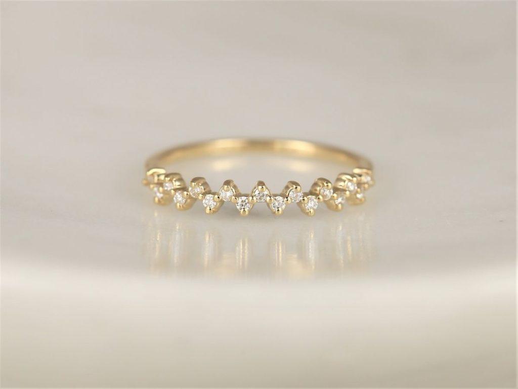 14kt Gold Diamond Dainty Minimalist Zig Zag Halfway Eternity Ring