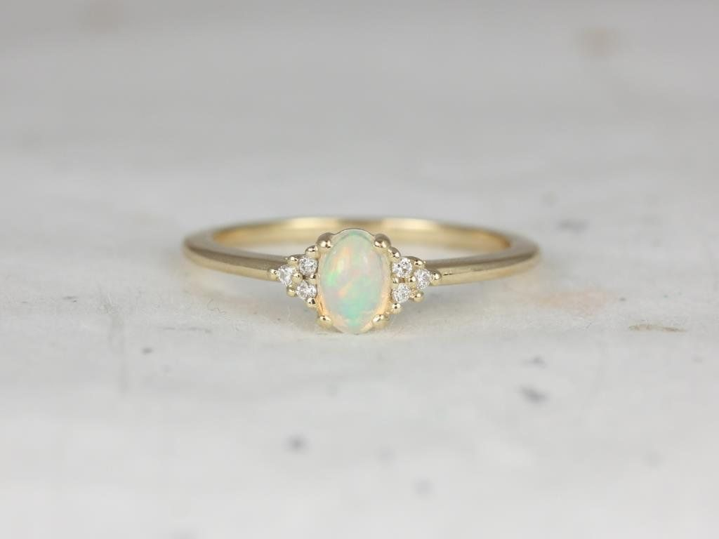 14kt Yellow Gold Opal Oval Cluster 3 Stone Ring,Rosados Box