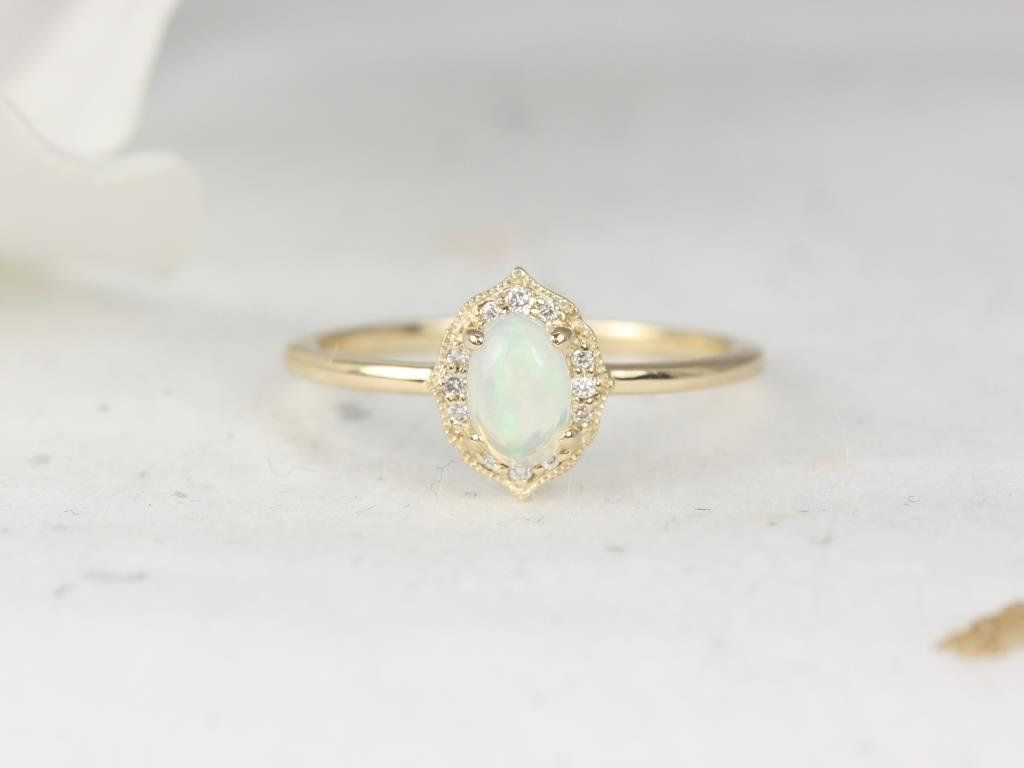 14kt Gold Opal Diamond Dainty Art Deco Unique Oval Halo With Milgrain Ring