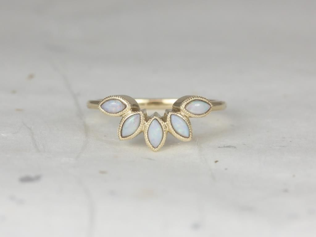 14kt Yellow Gold Marquise Opal Leaves With Milgrain Tiara Ring
